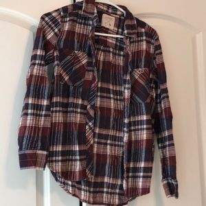 Maroon and blue flannel size xs